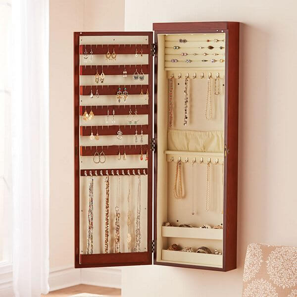 jewelry armoire wall mount